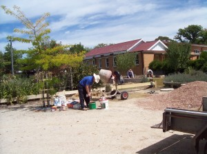 Bricklaying the Herb Garden 1