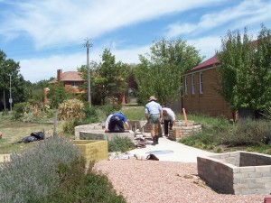 ONCC Inc volunteers Bricklaying Herb Garden 1