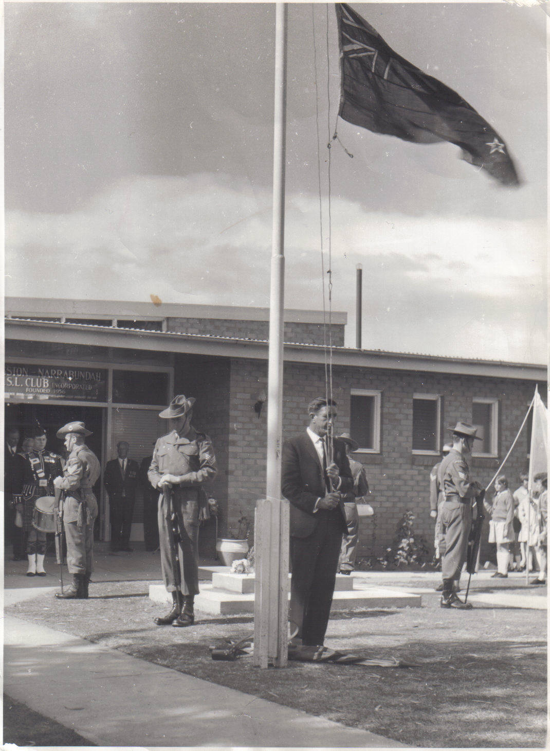 1968 ANZAC Day at Kingston Narrabundah RSL - Catafalque Party - Kevin Shearwood, Ken Batup, unknown, Chris Van Reesch ( Photo Courtesy of)