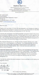 Minister Barr's Response to Suggested Amdt